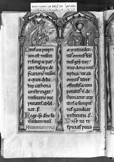Psalterium (sogenannter Landgrafenpsalter) — Litaneiseite, unter den Bögen das Königspaar von Ungarn, Folio 175verso
