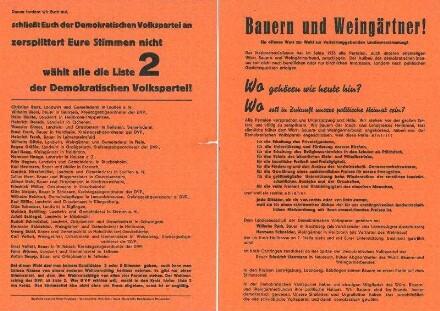 """Flugblatt an die """"Bauern und Weingärtner"""" zur Wahl der verfassungsgebenden Landesversammlung von der Demokratischen Volkspartei (Verantw. Willy Dürr)"""