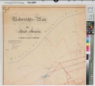 Schwelm (Schwelm) - Stadtplan mit Einzeichnung des Kanalsystems - in 4 Teilblättern - 1908 - 1 : 2500 - 62 x 66 - kol. Pause - Stadtbaumeister Bussmann - Regierung Arnsberg