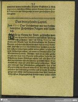 Das dreyzehende Capitel. Zum XIII. Das Verbündtnis mit den Holländern ist der Catholischen Religion nicht schädlich