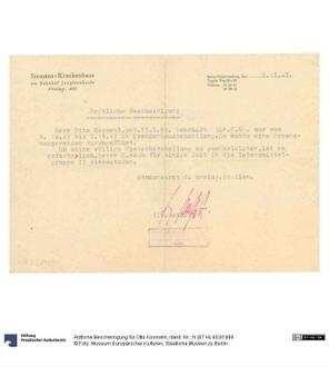 Ärztliche Bescheinigung für Otto Kosmehl - Deutsche Digitale Bibliothek