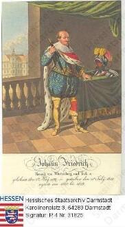 Johann Friedrich Herzog v. Württemberg (1582-1628) / Porträt, in Raumkulisse mit Blick auf Schloss stehend, vorblickend, leicht linksgewandt, Ganzfigur