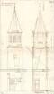 Fischer, Theodor; München - Laim; Interimskirche - Turm (Ansicht, Schnitt)
