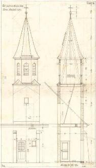 Fischer, Theodor; Interimskirche - Turm (Ansicht, Schnitt)