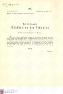 Anweisung an die Hessische Hauptstaatskasse, wie bei der Errichtung der Allgemeinen Hessischen Beamten-Sterbekasse dieselbe sich einzelnen Personen gegenüber zu verhalten hat