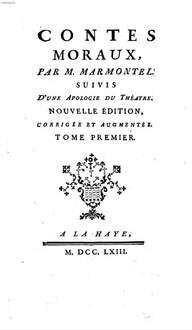 Contes Moraux : suivis d'une apologie du théatre. 1