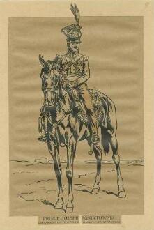 Stab Kaiser Napoleon I.: Fürst Jozef Poniatowski, Marschall, Kommandant der Truppen Grossherzogtum Warschau in Uniform mit Zierhelm zu Pferd, Vorderansicht