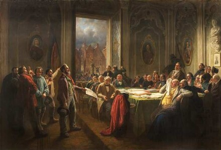 Johann Peter Hasenclever, Arbeiter vor dem Magistrat, um 1848/50, Kunstpalast, Düsseldorf, Inv.-Nr. M 1978-2