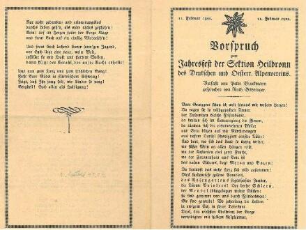 Vorspruch zum Jahresfest der Sektion HN des Dt. u. Österr. Alpenvereins. Verfaßt von Peter Bruckmann