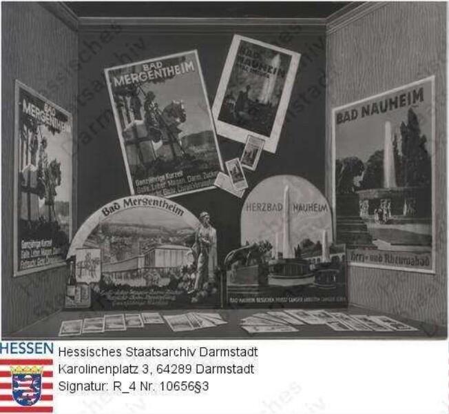 Bad Nauheim, Werbe-Schaufenstergestaltung - Wanderausstellung - Deutsche Heilbäder in der Reiseauskunftstelle des Hamburger Fremdenblattes