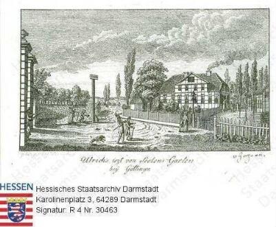 Göttingen, Garten Ulrichs v. Sehlen bei Göttingen/ Ansicht mit Gebäude / mit Bildlegende und handschriftlichem Vermerk [August Emil Freiherr] 'v. Gagern'