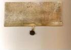 Melsungen 1562 -  - Henn und Gertrud Dippel aus Obermelsungen erhalten von dem Pfarrer zu Melsungen Johann Lening und dem Ratsherrn Clas Veng als Verwaltern der Frühmess-Stiftung die Summe von 20 Talern und leisten hierfür einen jährlichen Zins von 31 Albus. Als Sicherheit dienen ein Acker und eine Wiese samt Garten. Es besteht ein Rückkaufsrecht. Auf ihre Bitte siegelt der Schultheiß zu Melsungen Martin Berghofer. -  - Original, Pergament, deutsch