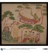 Indra weiht eine Vīṇā. Sujātā spendet dem Buddha Milchreis