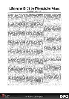 Die [nationale Einheitsschule]: [Fortsetzung aus dem Hauptblatt] ; 1. Beilage zu Nr. 28 der Pädagogischen Reform
