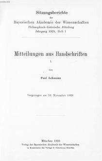 Mitteilungen aus Handschriften. 1 : vorgetragen am 10. November 1928