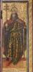 Bosseroder Altar — Altarinnenflügel links - Mariä Verkündigung, Anbetung der Könige und zwei Heilige — König mit Krone, Zepter und Schwert, wahrscheinlich Karl der Große