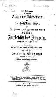 Trauer- und Gedächtnisrede bey dem ... Ableben ... Friedrichs des Zweyten, Landgraf von Hessen