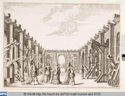 Bühnenbild zu der Oper 'Il fuoco eterno', 8. Bild: Arsenal