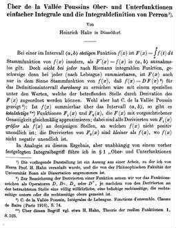 Über de la Vallée Poussins Ober- und Unterfunktionen einfacher Integrale und die Integraldefinition von Perron