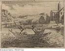 Fischer auf einem Teich mit Fangnetz