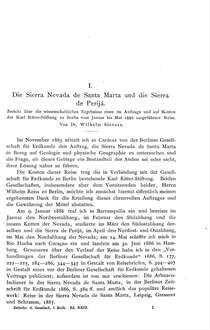 I. : Die Sierra Nevada de Santa Marta und die Sierra de Perijá