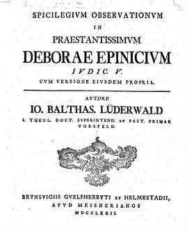 Spicilegium Observationum in Deborae epinicium Indic.