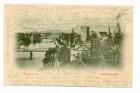 """""""Neckaransicht"""" - Gesamtansicht, Blick vom Rosenberg auf Neckar, Eiserner Steg, Götzenturm, südwestliche Innenstadt"""