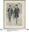 Zwei Herren in eleganter Kleidung: Cutaway oder Gehrock - Besichtigung der Sehenswürdigkeiten