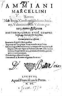 Rerum sub Impp. Constantio, Iuliano, Ioviano, Valentiniano et Valente, per XXVI annos gestarum historia ...
