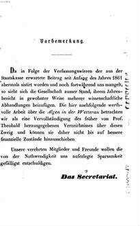 Jahresbericht der Wetterauischen Gesellschaft für die Gesammte Naturkunde zu Hanau. 1860/61, 1860/61