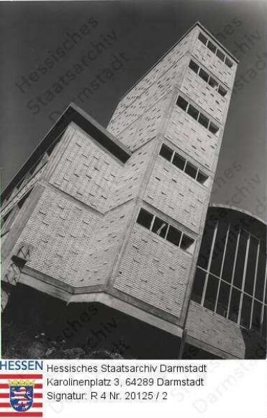 Darmstadt, Technische Hochschule / Wasserbauhalle BW 304, 4 Außenaufnahmen mit Wasserturm