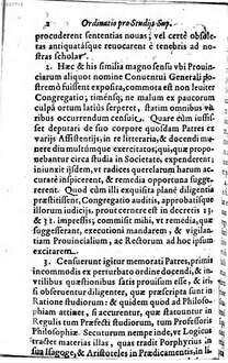 Ordinatio pro studiis superioribus a Franc. Piccolomineo ad Provincias missa 1651