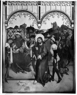 Tiefenbronn  Katholische Kirche Sankt Maria Magdalena  Hochaltar (1469) von Hans Schüchlin Schrein geschlossen - Darstellung Christus vor Pilatus