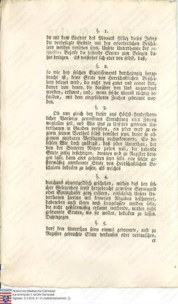 Verordnung betreffend die Pferdezucht auf den Gestüten Marburg und Ziegenhain (zwei Exemplare; Landgraf Wilhelm IX. v. Hessen-Kassel)