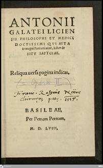 Antonii Galatei ... Liber de sitv Iapygiae ...