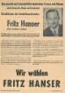 Flugblatt für Fritz Hanser zur Bundestags-Nachwahl (Vereinsdruckerei)