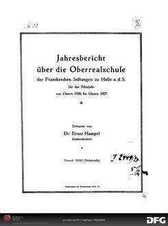 Jahresbericht über das Schuljahr ... - 1926/27; 1926/27