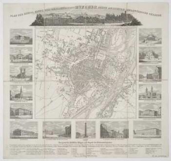 Plan und Ansichten von München, 1:17 000, Stahlstich, 1843