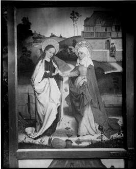 Tiefenbronn  Katholische Kirche Sankt Maria Magdalena  Hochaltar (1469) von Hans Schüchlin geschlossen linker Flügel, oben Begegnung Maria und Elisabeth