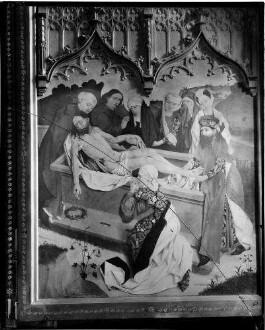 Tiefenbronn  Katholische Kirche Sankt Maria Magdalena  Hochaltar (1469) von Hans Schüchlin Schrein geschlossen - rechter Innenflügel Darstellung Grablegung