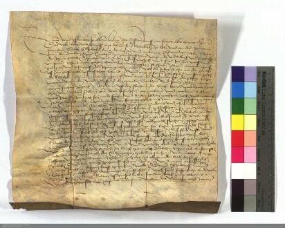 Andreas Stumpf, Abt zu Hornbach, tauscht ein Stück Land an der Mauer zu Flörsheim gegen verschiedene andere Ländereien mit Sittich v. Breidenbach,...