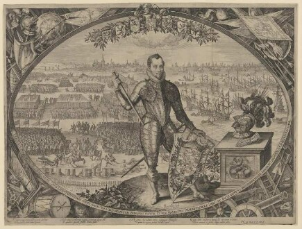 Bildnis des Moritz von Oranien; im Hintergrund die Schlacht von Nieuwpoort