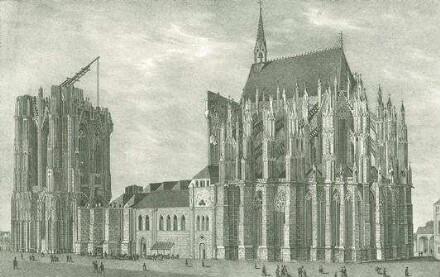 Äußere Ansicht des Domes zu Köln. Lithographie nach (Sulpiz) Boisserée.