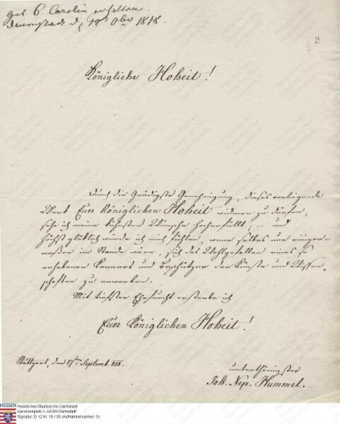 Hummel, Johann Nepomuk, großherzoglich-sächsischer Hofkapellmeister