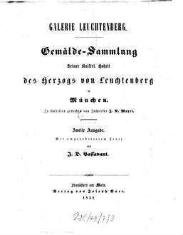 Galerie Leuchtenberg Gemälde Sammlung Seiner Kaiserl Hoheit Des