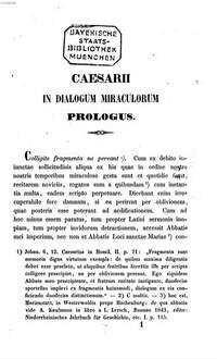 Dialogus miraculorum : Textum ad quatuor codicum manuscriptorum editionisque principis fidem accurate recognovit Josephus Strange. 1