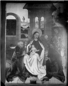 Tiefenbronn  Katholische Kirche Sankt Maria Magdalena  Hochaltar (1469) von Hans Schüchlin Schrein geschlossen rechter Flügel, unten Anbetung der Könige