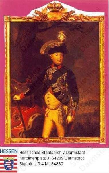 Wilhelm IX. Landgraf v. Hessen-Kassel, 1803 Kurfürst Wilhelm I. (1743-1821) / Porträt, vor Landschaftskulisse stehend, Kniestück
