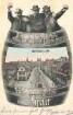 Speyer - Mehrfachansicht - Maximilianstraße Richtung Dom -  - Postkarte mit drei fröhlichen Zechern auf einem Faß