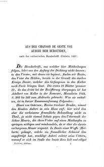 Aus der Chanson de geste von Auberi : nach einer vaticanischen Handschrift